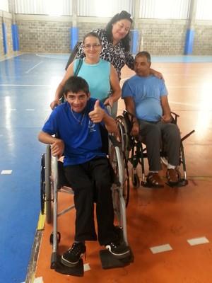 Hilda, Alexandre, Elizabeth e Anservis Bocha Paralímpica Juiz de Fora (Foto: Roberta Oliveira)