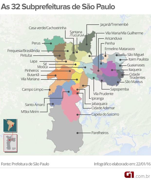 Mapa das 32 subprefeituras de São Paulo (Foto: Arte/G1)