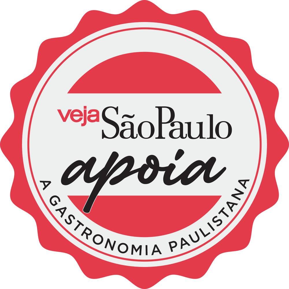 """Desenho do selo """"Veja São Paulo apóia a gastronomia paulistana""""."""