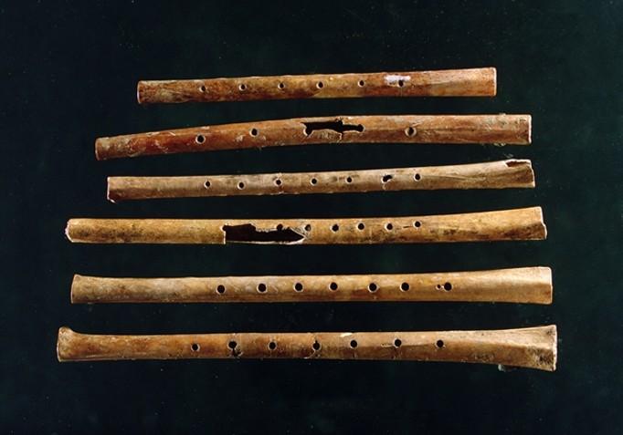 As seis flautas feitas de ossos. São do período neolítico. Estima-se que tenham cerca de 9.000 anos de idade.