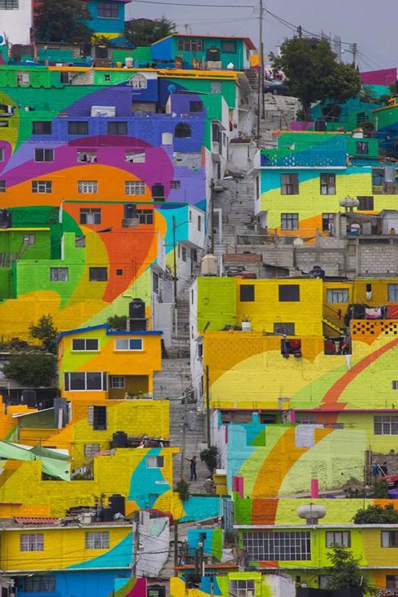Mural grafitado na comunidade de Palmitas, em Pachuca, no México. Parceria entre o governo mexicano e o grupo German Crew levou cor à comunidade (Foto: reprodução/facebook)
