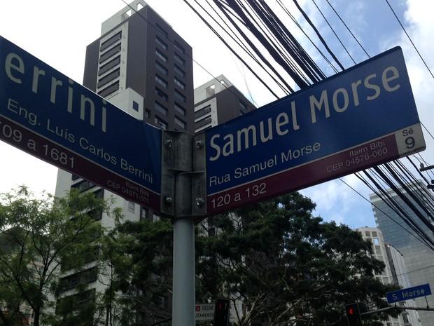 Ruas da região da Berrini, em São Paulo, homenageiam cientistas renomados (Foto: Cintia Acayaba/G1)